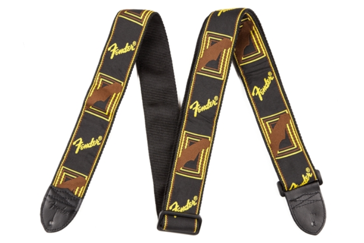 Fender 2'' Monogrammed Strap Black/Yellow/Brown