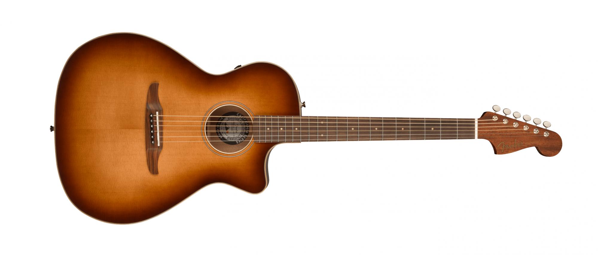 Fender Newporter Classic Acoustic Guitar with Gig Bag, Pau Ferro, Aged Cognac Burst