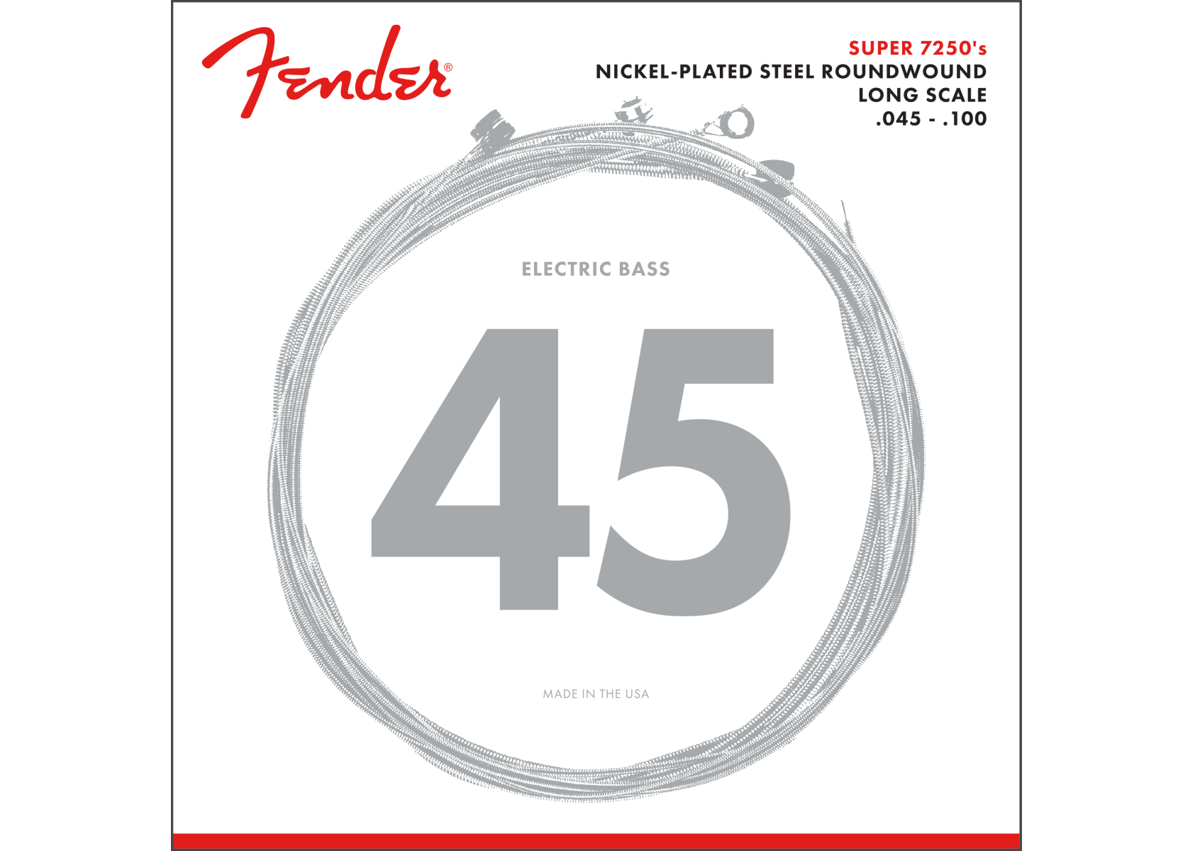 Fender Nickel Plated Steel Round Wound Electric Bass Strings 45-100
