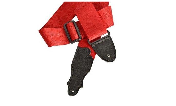 Franklin 2 Red Seatbelt Strap/Black Leather End Tab