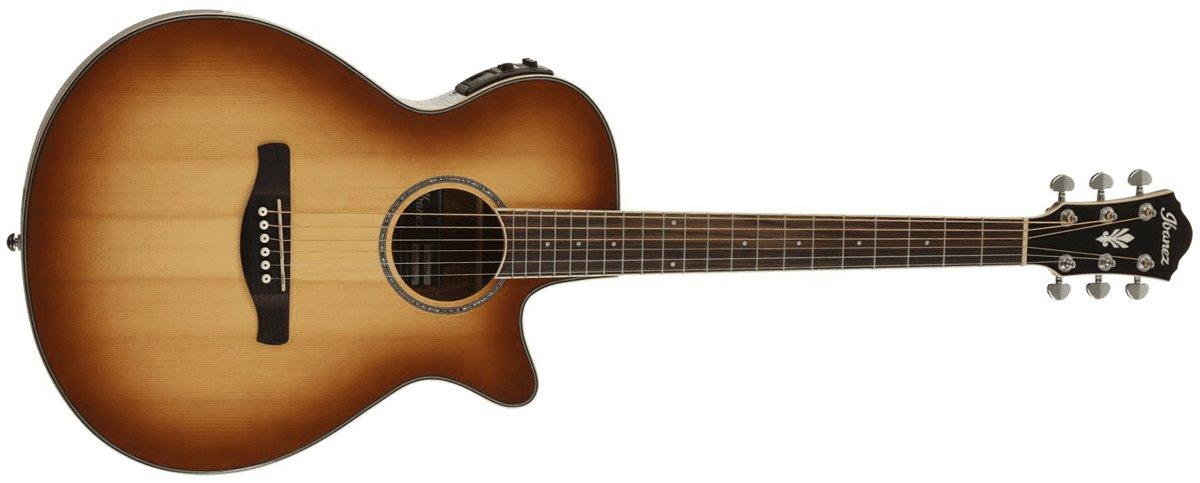 Ibanez AEG10II Cutaway Acoustic Electric Guitar, Natural Brown Burst