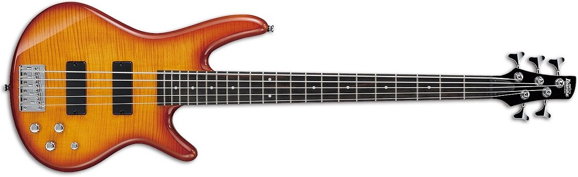 Ibanez GSR205FM Gio 5-String Electric Bass Flame Maple Top, Amber Burst