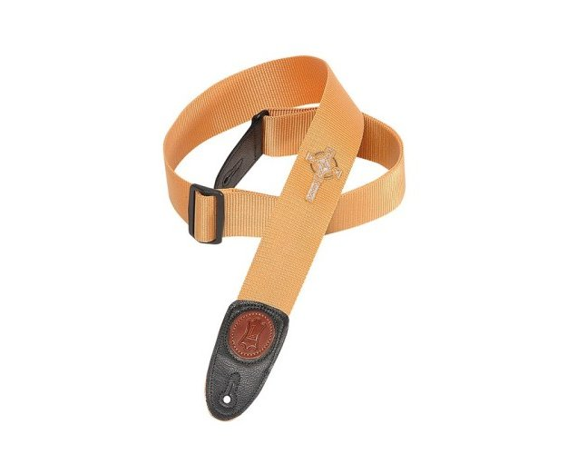 Levy's Soft-Hand Polypropylene Guitar Strap, Embroidered Celtic Cross Tan