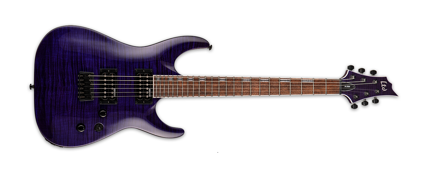 ESP LTD H-200FM Electric Guitar, See Thru Purple