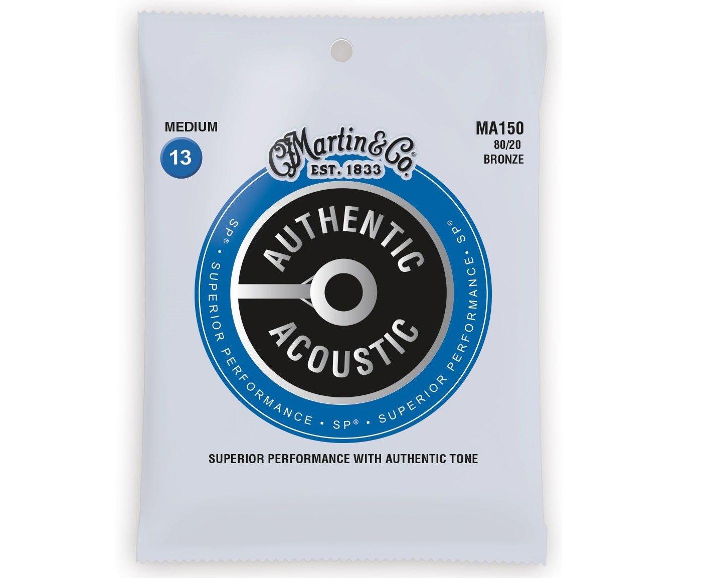 Martin Authentic 80/20 Bronze Acoustic Guitar Strings, Medium