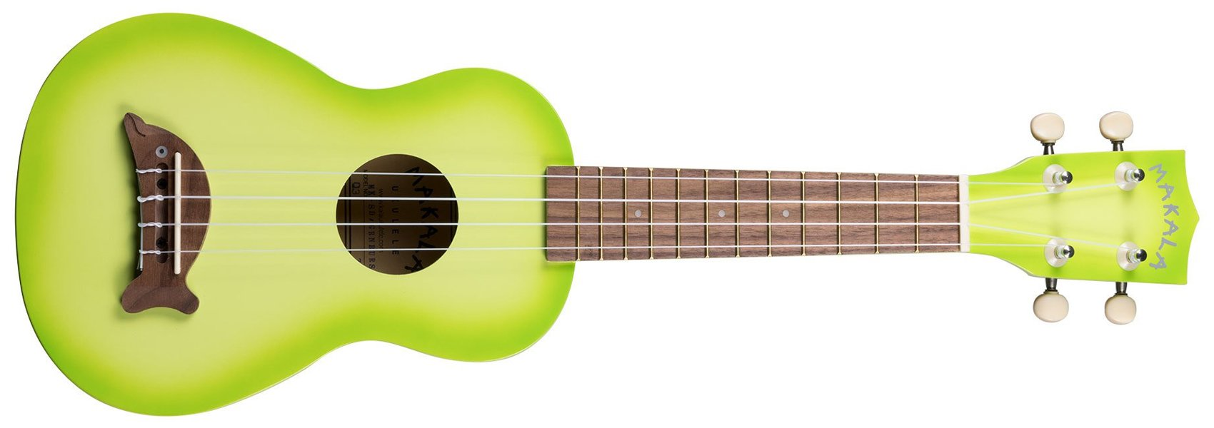 Makala Dolphin Bridge Soprano Ukulele, Green Apple Burst