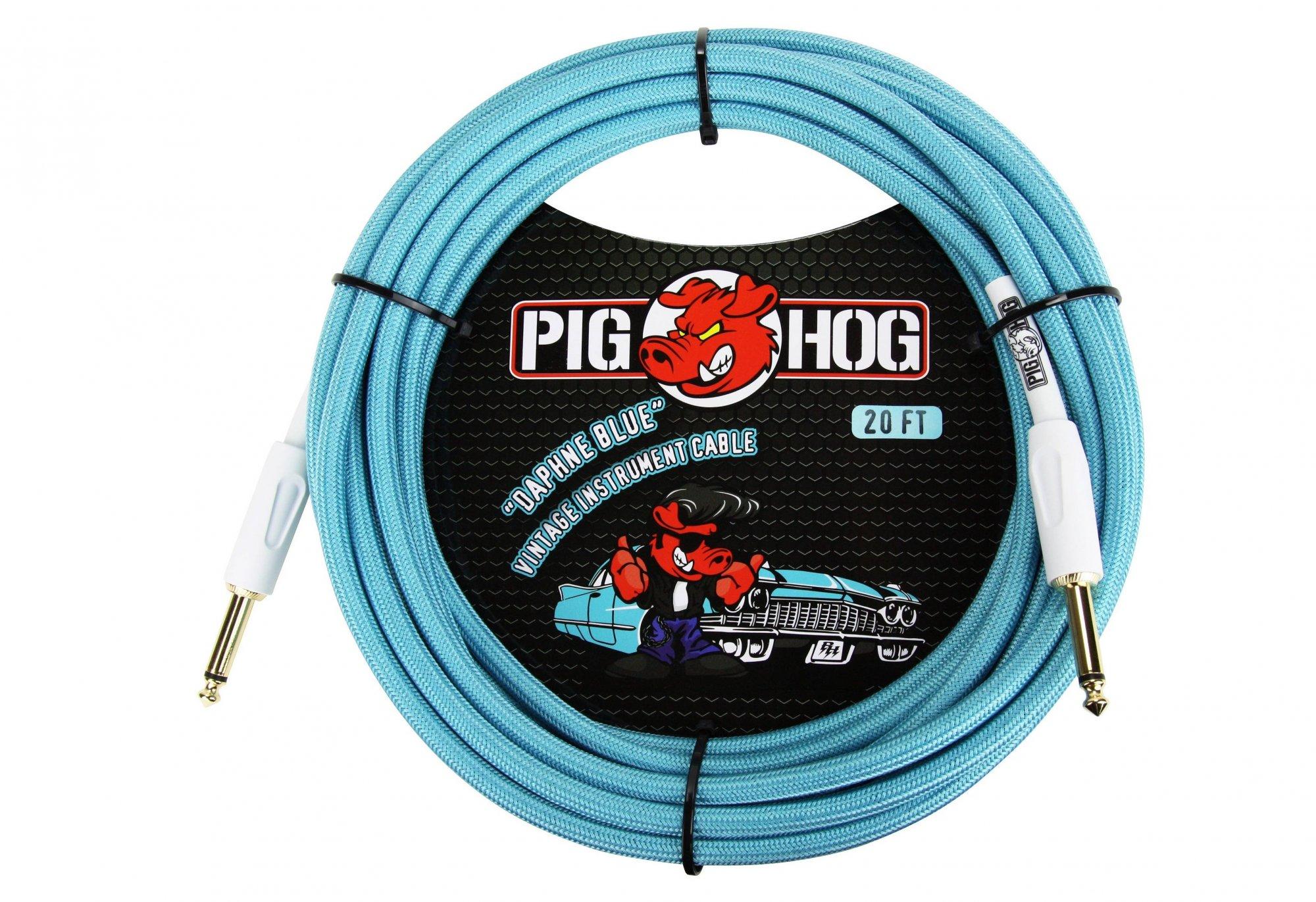 Pig Hog Vintage Instrument Cable, 20', Daphne Blue