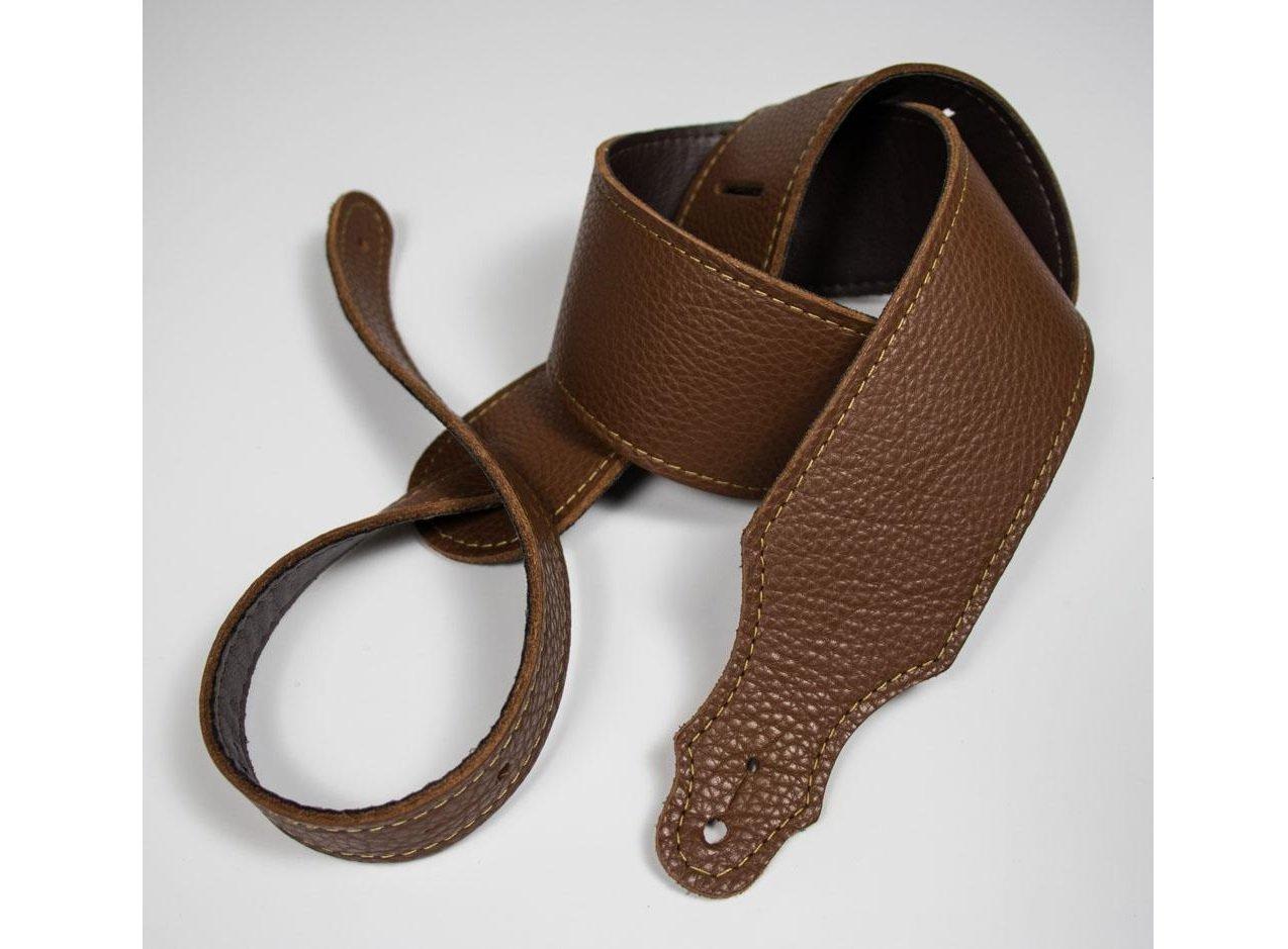 Franklin 2.5 Purist Caramel Glove Leather Guitar Strap, Gold Stitching