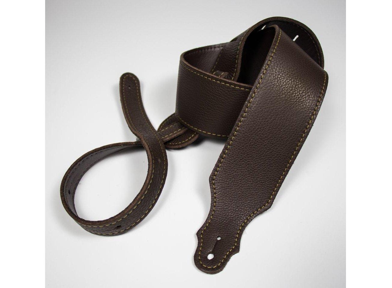 Franklin 2.5 Purist Chocolate Glove Leather Guitar Strap, Gold Stitching
