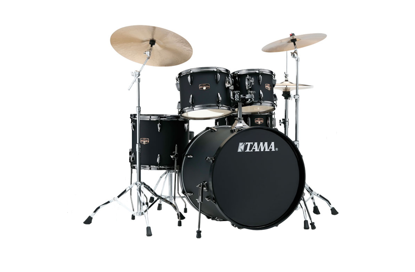 Tama Imperialstar Drum Kit with Stands and Cymbals, Black Out Black