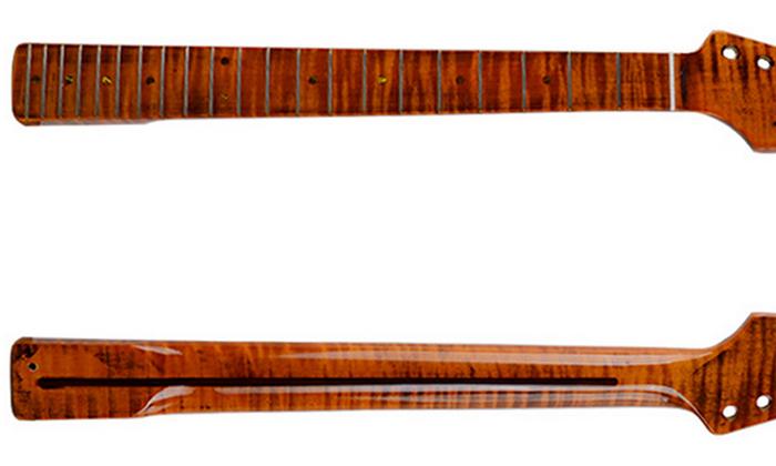Orion Flame Maple Stratocaster Neck, Dark Brown