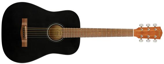 Fender FA-15 3/4 Acoustic Guitar w/Gig Bag, Walnut Fingerboard, Black