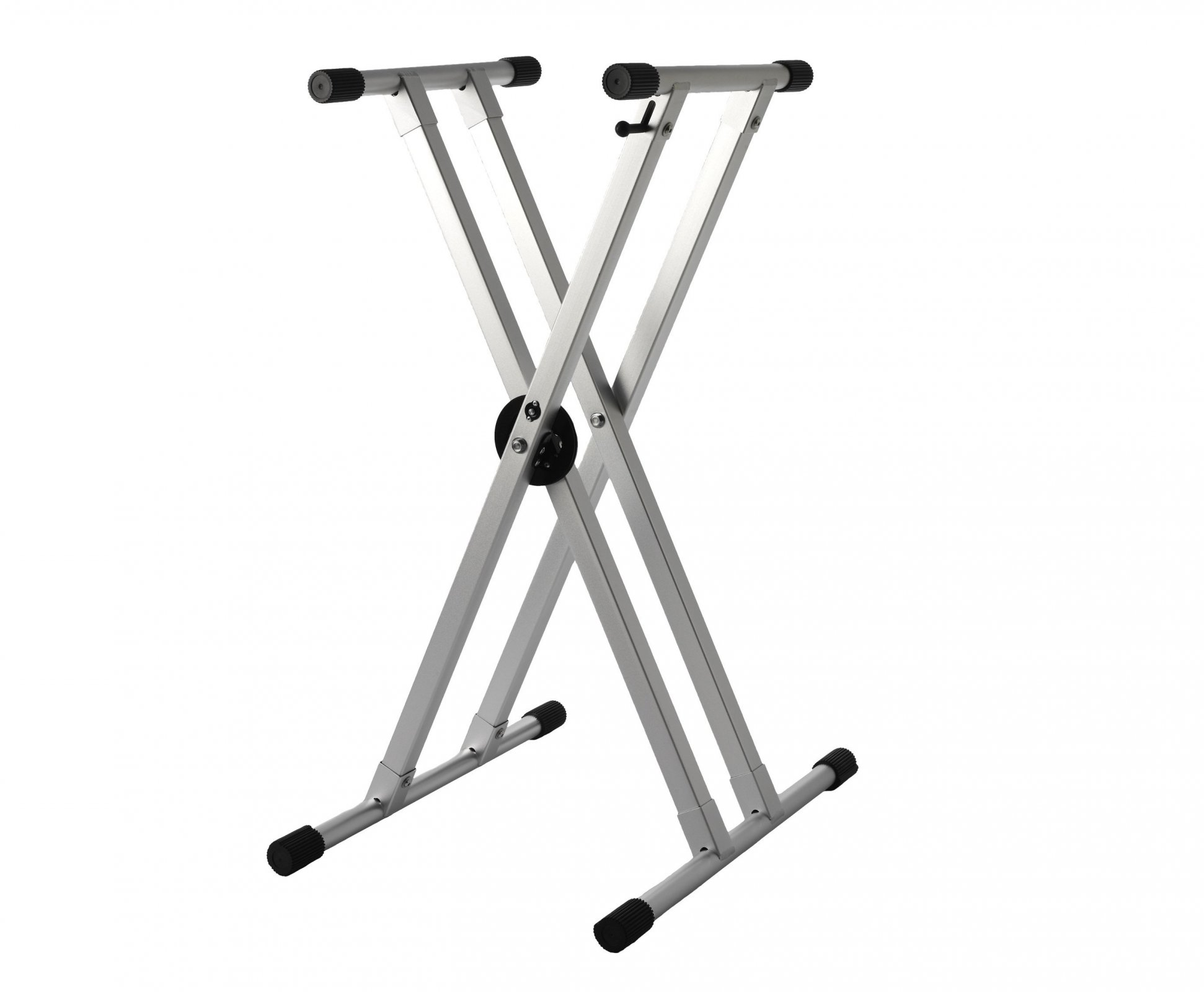 Strukture Knockdown Aluminum Double Braced Keyboard Stand with Trigger, Anodized Silver
