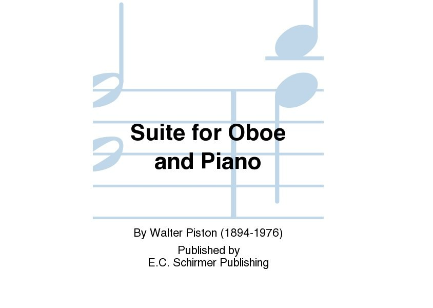 Suite for Oboe & Piano by Walter Piston