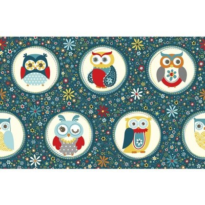 ADORNit, Nested Owls, Owl Panel, Navy