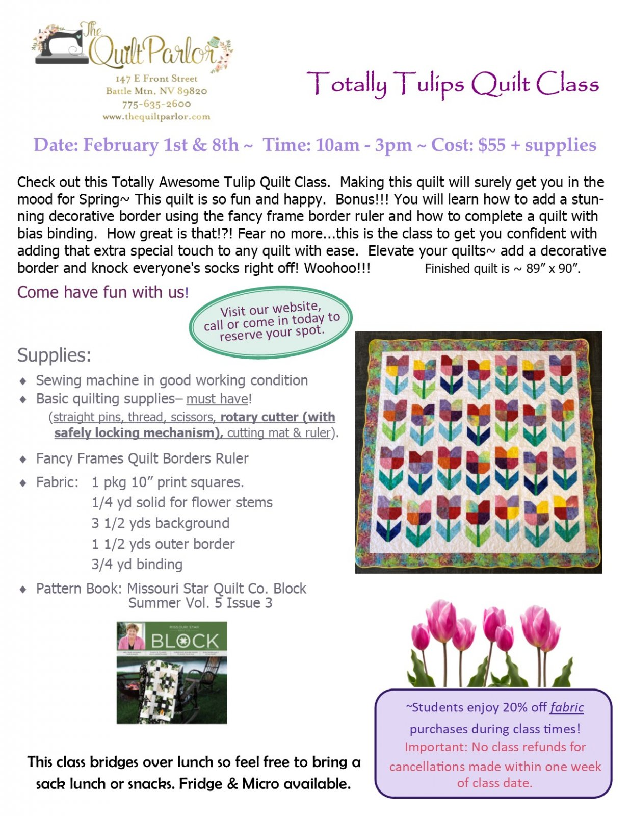 Totally Tulips Quilt Class