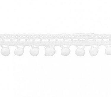 1/2 Pom Pom Fringe- White