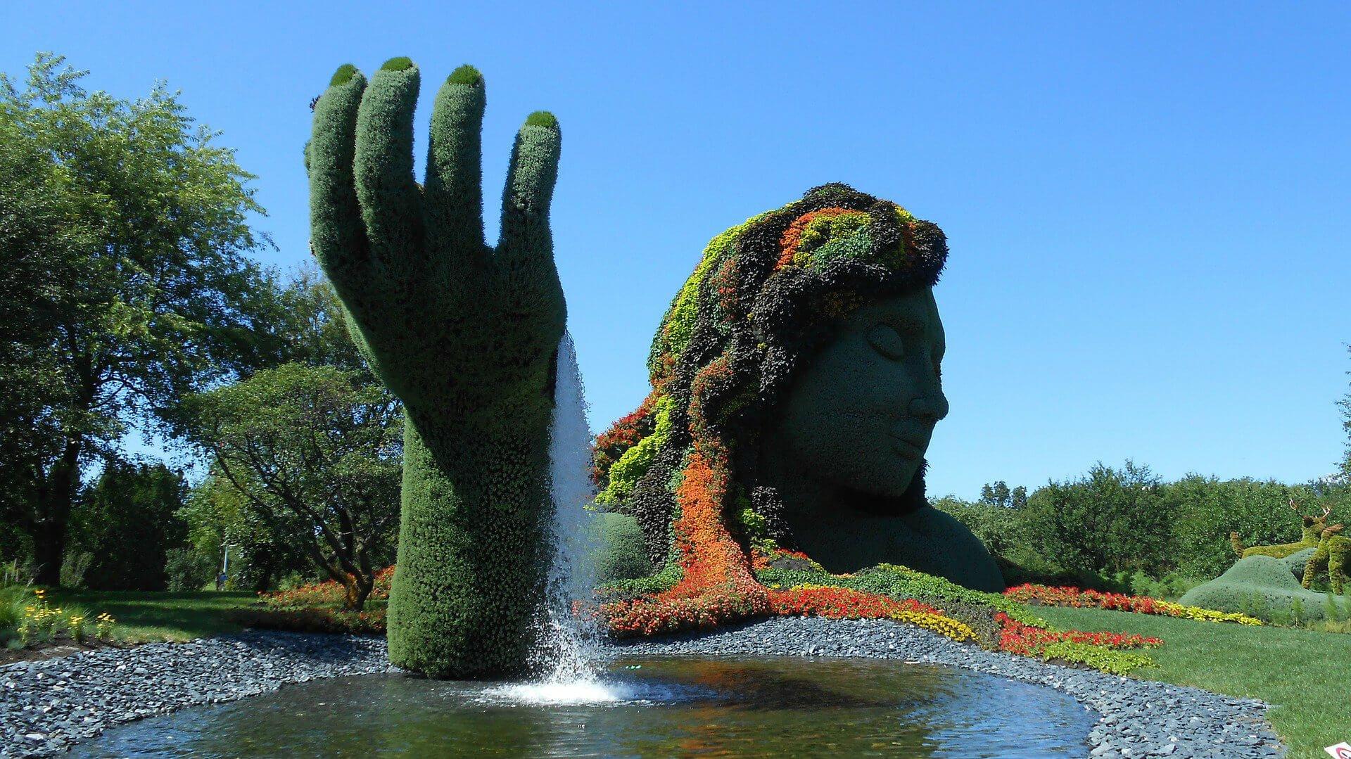 jardin flower garden with waterfall