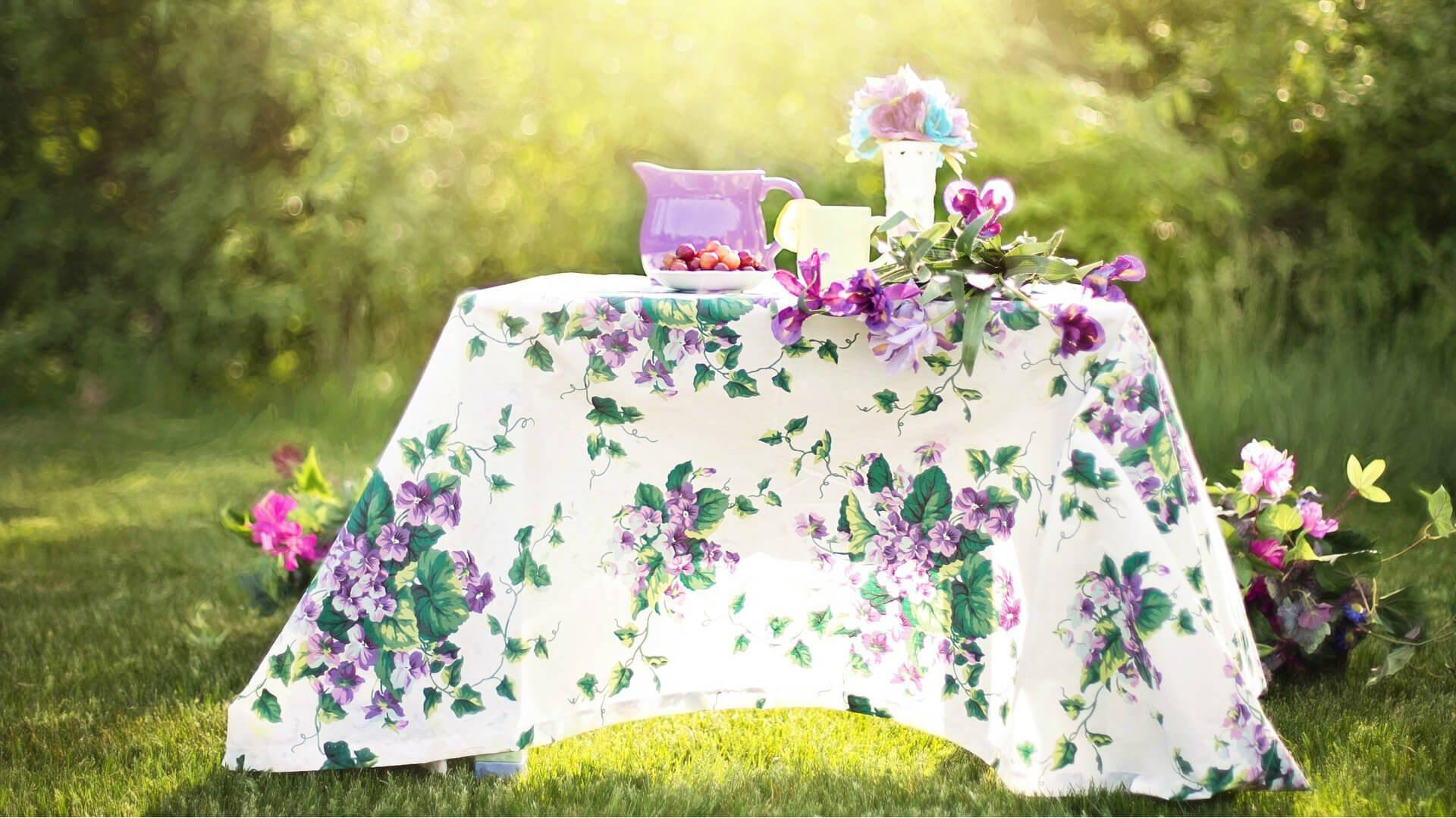 tea table in garden
