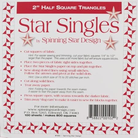 Half Square Triangle Singles- 2 Inch-Spinning Star Design