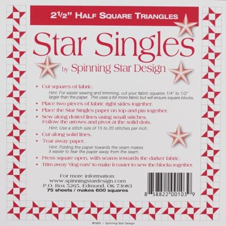 Half Square Triangle Singles- 2 1/2 Inch-Spinning Star Design