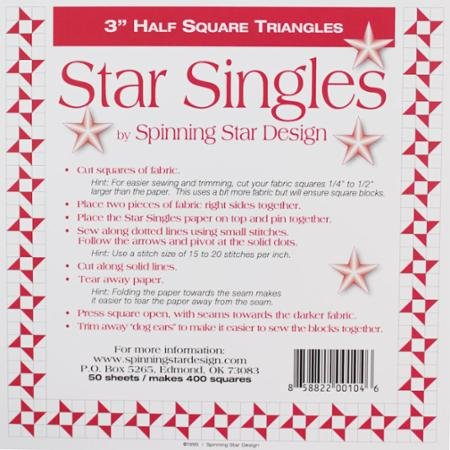 Half Square Triangle Singles-3 Inch-Spinning Star Design