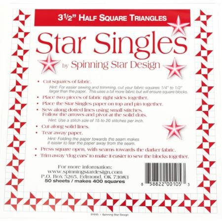 Half Square Triangle Single 3.5 Inches-Spinning Star Design