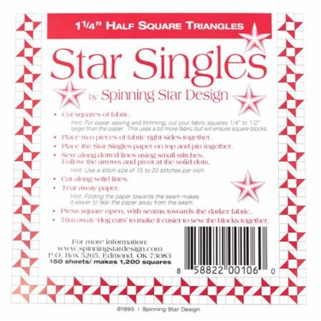 Half Square Triangle Single 1.25 Inch-Spinning Star Design