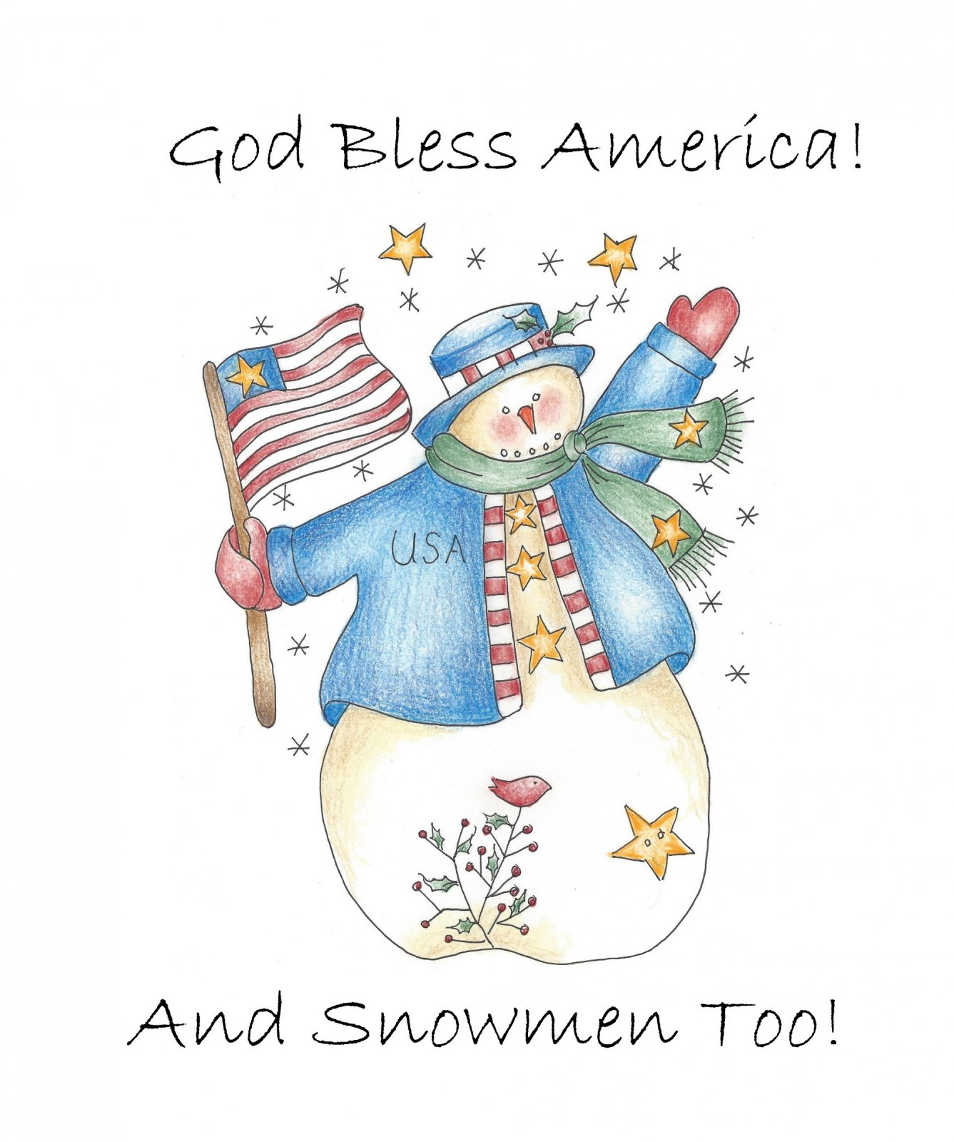 CDH734T God Bless America! And Snowmen Too!