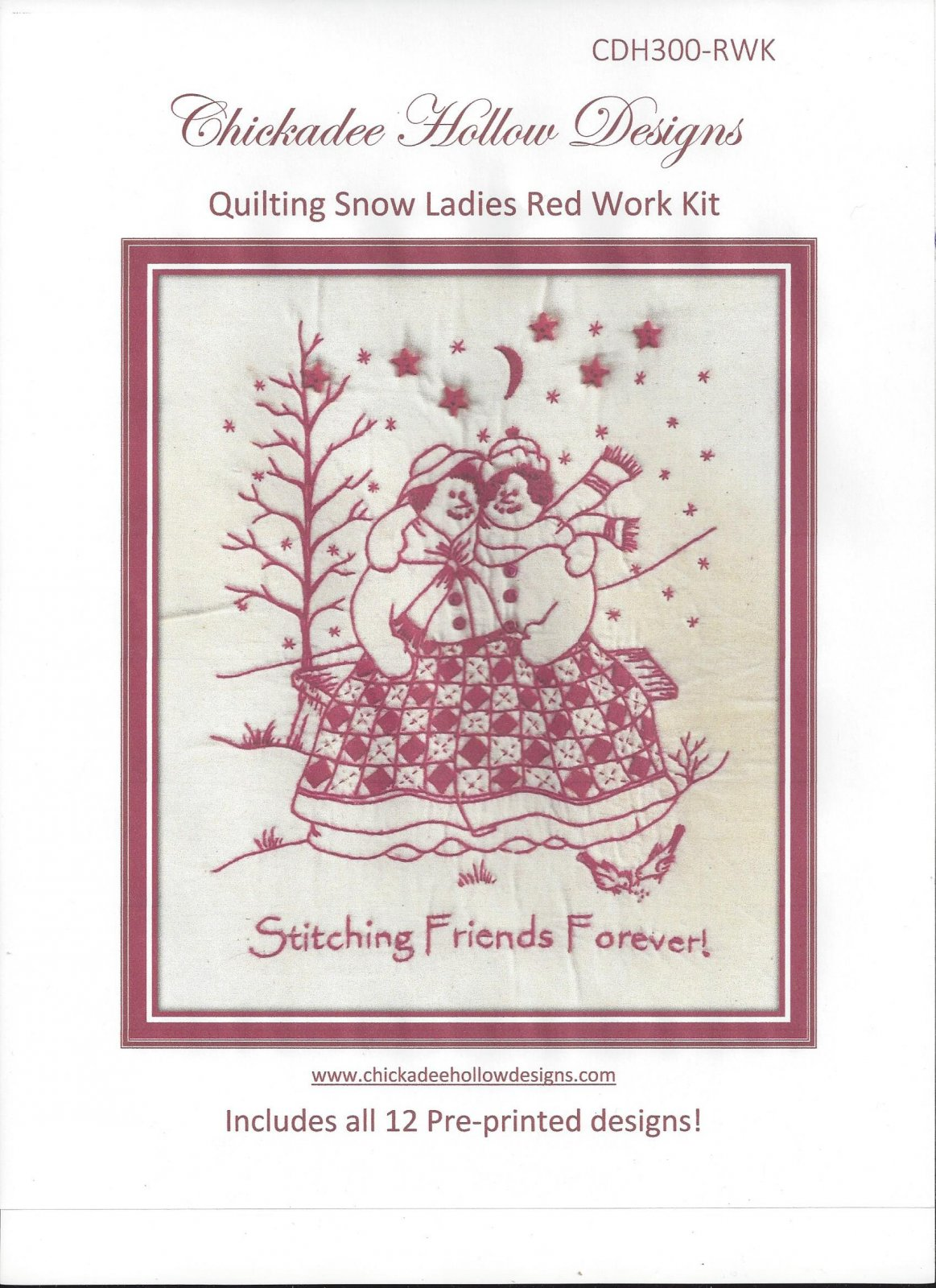 The Quilting Snowladies Complete Set Redwork.