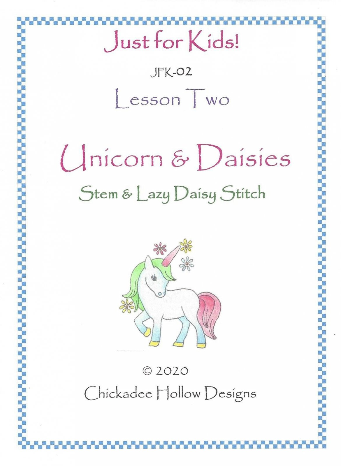 JFK02  Unicorn and Daisies Lesson 2