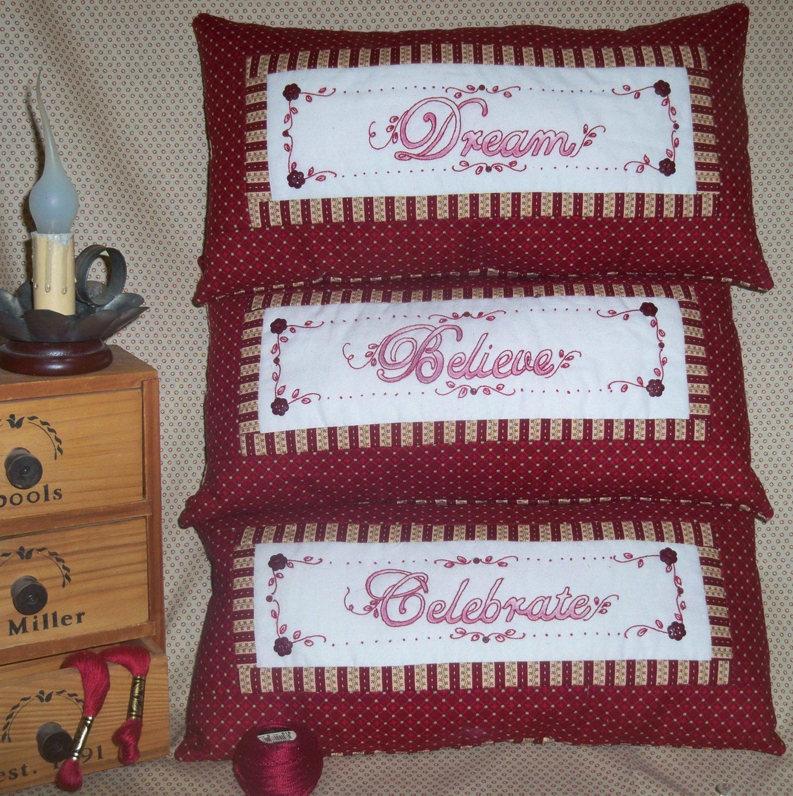 714R Redwork Dream Celebrate Believe Shelf Pillows