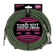 Ernie Ball 18 FT BRAIDED STRAIGHT ANGLE CABLE BLACK GREEN