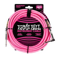 Ernie Ball 10 FT BRAIDED STRAIGHT ANGLE CABLE NEON PINK