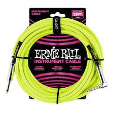 Ernie Ball 18 FT BRAIDED STRAIGHT ANGLE CABLE NEON YELLOW