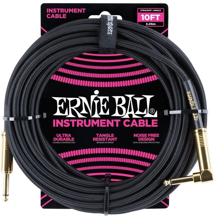 Ernie Ball 10' Braided Straight / Angle Instrument Cable - Black w/Gold Connectors