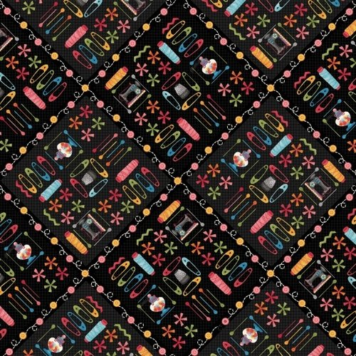 Henry Glass One Stitch at a Time Notions/Black