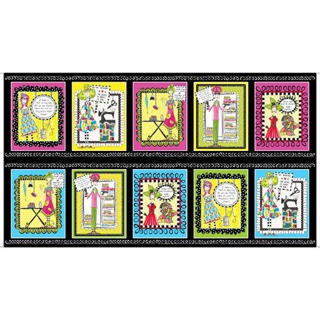 QT Sew Sassy Sewing Picture Patches Black