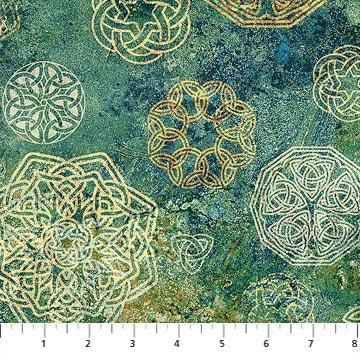 Northcott Stonehenge Solstice Teal Small Celtic Knots