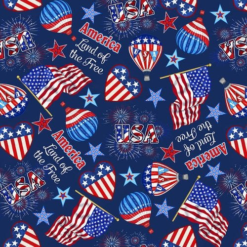 Studio e America Home of the Brave Tossed Flag Icons Navy