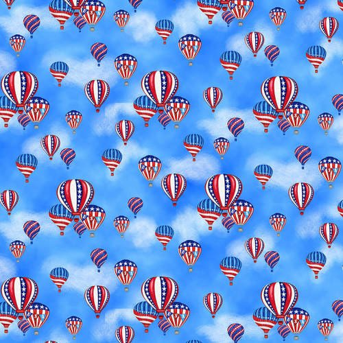 Studio e America Home of the Brave Hot Air Balloons Blue