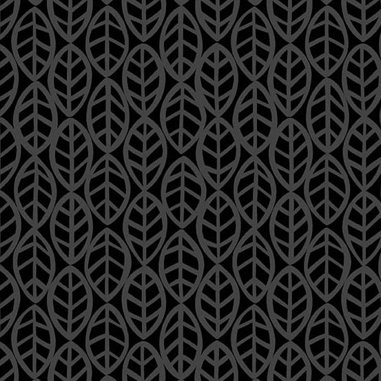 Andover Doodlicious Leaves Black on Black