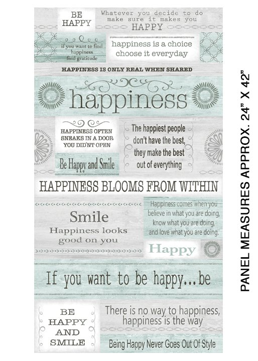 Benartex Words to Live By Happiness Panel Grey/Multi