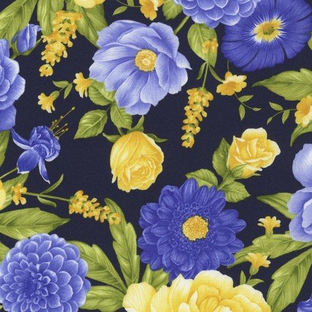 Timeless Angelica Navy Lg.. Flower Toss