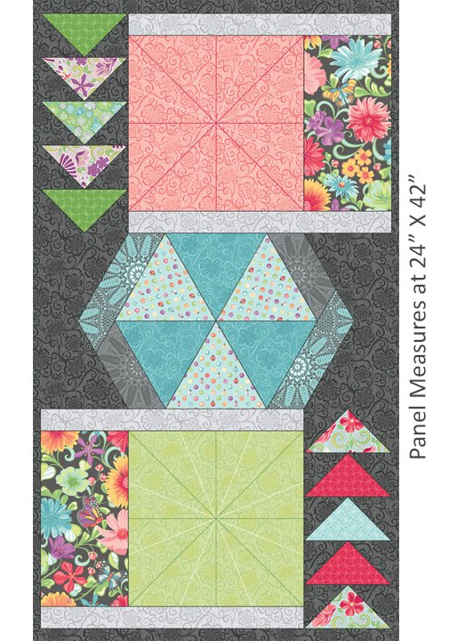 A Wildflower Meadow-Meadow Dance Panel Multi /Free Motion Quilting Panel
