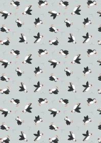 Lewis & Irene Small Things by the Sea - Puffins Pale Blue