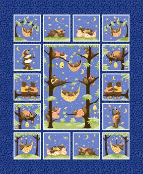 Susybee Baron the Bear Quilt Panel