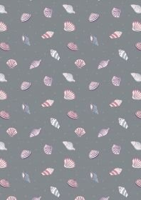 Lewis & Irene Small Things by the Sea - Sea Shells on Grey