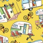 Henry Glass Happy Camper Yellow Campers & Bikes
