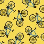 Henry Glass Happy Camper Yellow Tossed Bikes